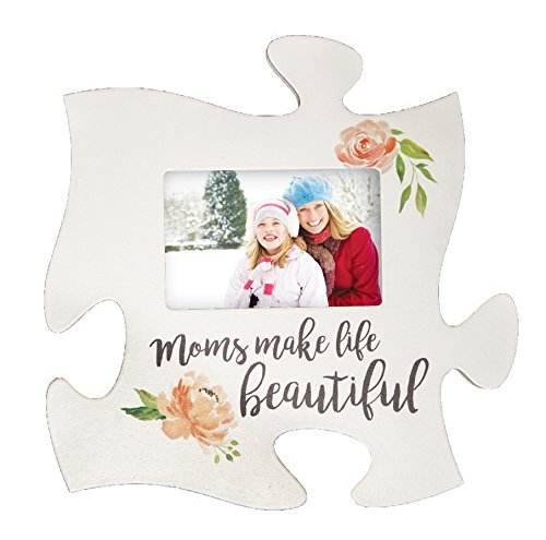P. GRAHAM DUNN Moms Make Life Beautiful Floral White 12 x 12 Wood Puzzle Photo Frame Wall Plaque
