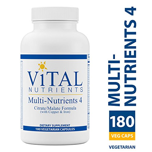 Vital Nutrients - Multi-Nutrients 4 Citrate/Malate Formula (with Copper & Iron) - Comprehensive Multi-Vitamin/Mineral Formula With Potent Antioxidants in a Gentle Bioavailable Form - 180 Capsules Comprehensive Multivitamin