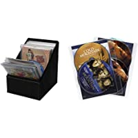 Atlantic Media Sleeve Storage Bin - Leatherette Front, Quality Stitching and includes 36 Sleeves & 25 Pack Movie Sleeves - Clear Sleeve hold two discs each, Protects Discs Against Scratches and Dust