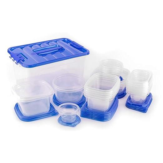 54 piezas azul claro juego de contenedores de alimentos con ...