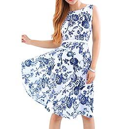 YMING Women's Summer Dress Vintage Cocktail Dress Knee Length Dress Swing Dress(with Belt) XS-XXXXL