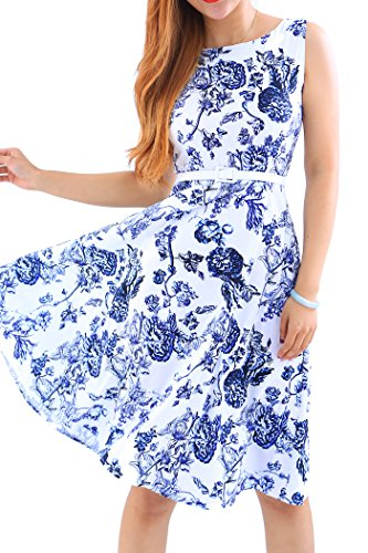YMING Women's Boat Neck Swing Dress A Line Vintage Dress Floral Print Dress Floral 4 2XL ()