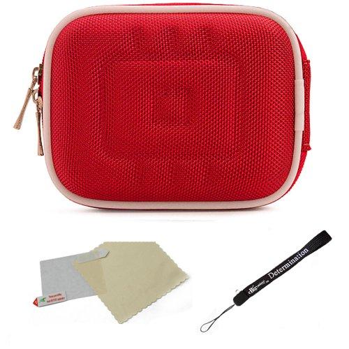 Red Nylon Mini Hardshell Lightweight Carrying Case For Panasonic Lumix Compact Cameras F, FH, LX, SZ, TS, XS, ZS + Screen Protector + Mini Tripod