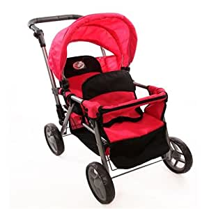 Amazon.com: Pink Doll Twin Tandem Stroller with Adjustable ...