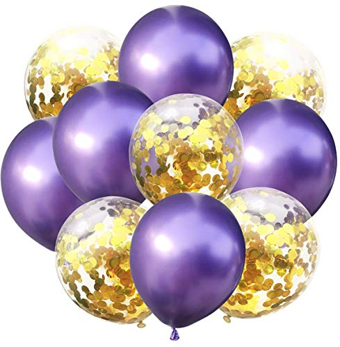 CocoHut 20 Pcs 12 Inches Latex Balloons Confetti Balloons Helium Balloons Party Supplies for Wedding Birthday Girl Baby Shower Party Decorations (Purple) -