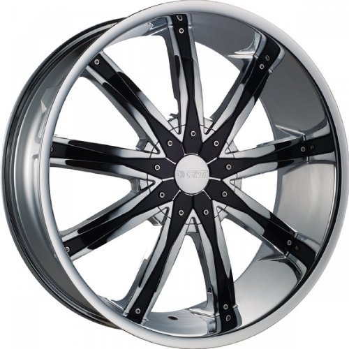24 Inch Dcenti DW29 Black Chrome Inserts Wheels Rims Only Set of 4 Fits Chevy Ford GMC Cadillac Dodge Toyota Lincoln Trucks Includes Free Wheel Club LA T-Shirt