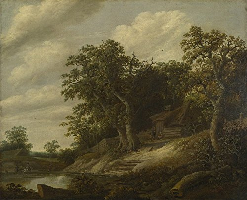 Polyster Canvas ,the Replica Art DecorativeCanvas Prints Of Oil Painting 'Cornelis Decker A Cottage Among Trees On The Bank Of A Stream ', 24 X 30 Inch / 61 X 75 Cm Is Best For Study Decor And Home Artwork And Gifts