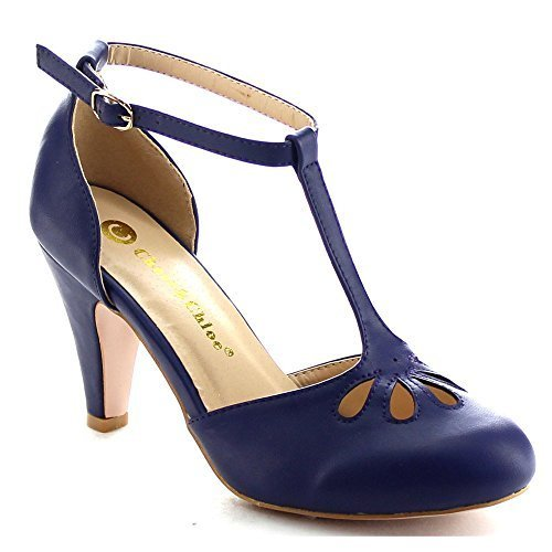 Chase & Chloe Kimmy-36 Women's Teardrop Cut Out T-Strap Mid Heel Dress Pumps,Navy,7 (Navy Shoes Pump)
