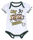 MLB Oakland A's Athletics Baby Girls Infants Peanuts Love Baseball Creeper, White