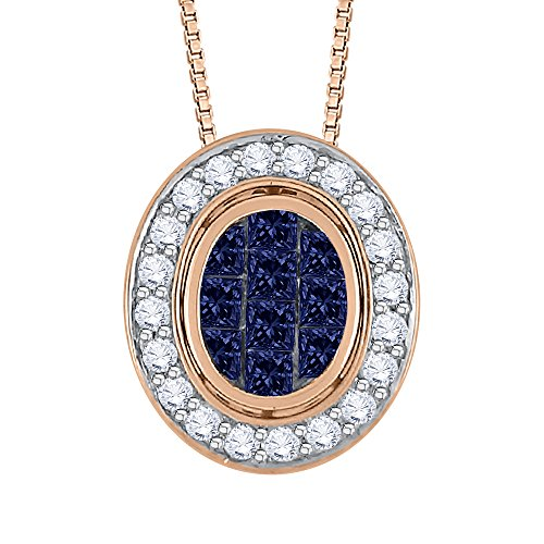 Round and Princess Cut Sapphire Diamond Pendant with Chain in 14K Rose Gold (1 cttw) ( G - H Color VSSI Clarity)