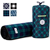 Blue and Green Plaid Picnic & Outdoor Blanket Laguna Beach Textile Co   Plush and Water-Resistant Outdoor Mat - Perfect for Camping, Beach, Park and Festivals   Marina Green Plaid