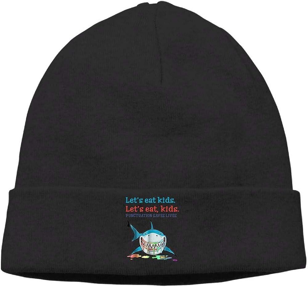 Riokk az Lets Eat Kids Punctuation Saves Lives 2 Skull Caps Beanie Knit Cap for Unisex Black