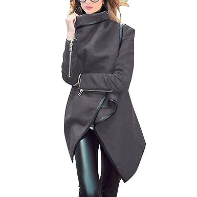 ZFFde Invierno Abrigo de cazadora de lana de dobladillo irregular de invierno de manga larga de