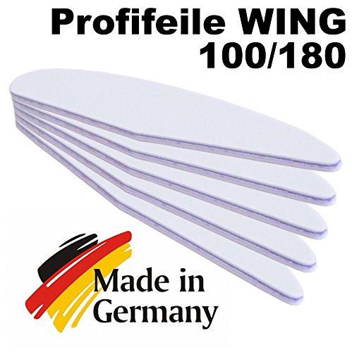 5er Pack – Profifeile Wing (Nagelfeile) weiss – lila Kern – Grit 100/180