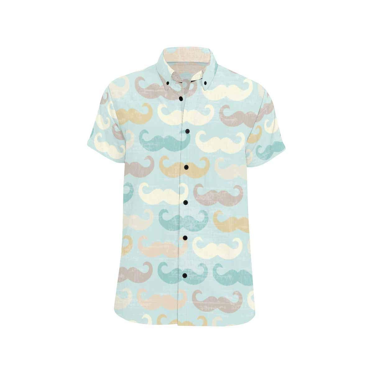 InterestPrint Casual Retro Mustache Casual Button Down Beach Shirts