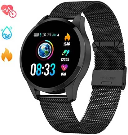 GOKOO Sports Smart Watch for Men Women with Heart Rate Blood Pressure Sleep Monitor Physiological Period Reminder IP67 Waterproof Calorie Pedometer Counter Bluetooth Smartwatch Fitness Tracker Black