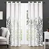 Cheap Exclusive Home Wilshire Burnout Sheer Window Curtain Panel Pair with Grommet Top 54×96 Winter White 2 Piece