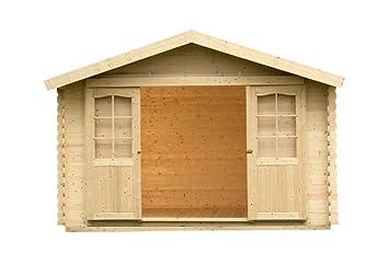 Alpholz Jardín Casa Courtrai de madera grande   cabaña Jardín con techo cartón   Caseta Natural Sin Picea macizas farbbeha ndlung (390 x 360 cm): Amazon.es: ...