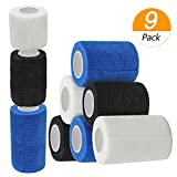 Homgaty 9 Pack Self Adherent Cohesive Wrap Bandages,Strong Sports Tape for Wrist,Ankle Sprains & Swelling,First Aid Sports Vet Tape Medical Supplies,Self Grip Roll - 2/3/4inch,White,Blue,Black