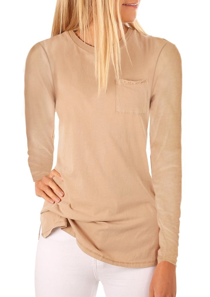 Mafulus Womens Long Sleeve Crew Neck Tunic Tops Casual Loose Fit T Shirts with Pockets