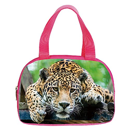Polychromatic Optional Small Handbag Pink,Jungle,South American Jaguar Wild Animal Carnivore Endangered Feline Safari Image,Orange Black Green,for Girls,Print Design.6.3