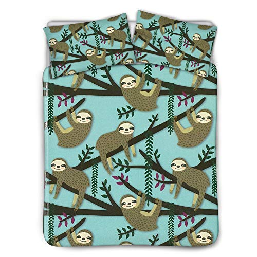 HUGS IDEA Animal Themed Bedding Sheet Sets Lovely Cartoon Sloth Hanging in Tree Branch Pattern Children Bedroom Decor Soft Comfy Hypoallergenic High End Bedding Set Twin(68in x 88in) ()