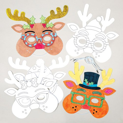 Reindeer Color-in Card Masks for Children to Design and Wear for Christmas Craft Party - Make Your Own Accessory (Pack of 6) - Make Your Own Christmas Costume Ideas