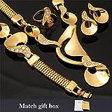 GDSTAR Big Set Necklace Earrings Bracelet Ring 18K Gold Plated Clear Rhinestone Wedding Fashion Jewelry For Women