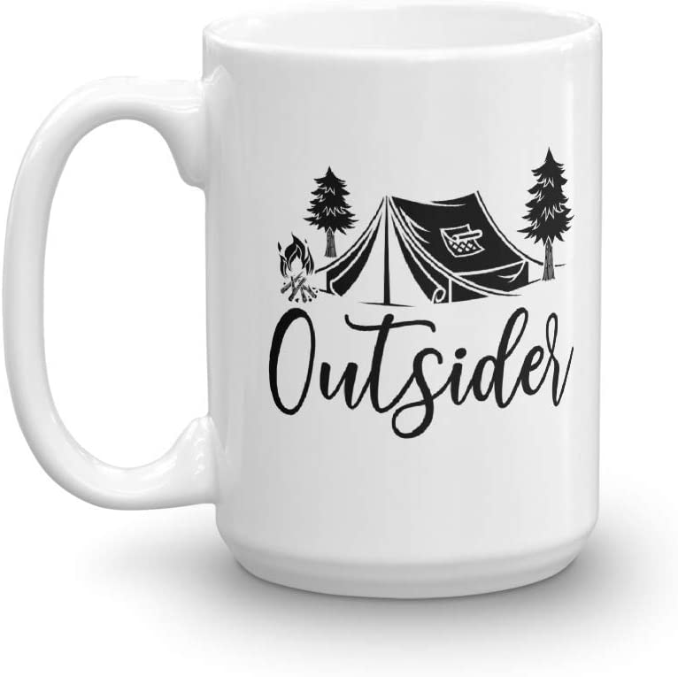 Outsider Mug   Camping Coffee Mug   Time Outdoors   Backpacking Trip Mug   Weekend Camping Trip Mug   Hiking Mug   Gift For Him   Outdoorsman Mug   Nature Lover   Campfire Gift   Travel Gift (15oz)