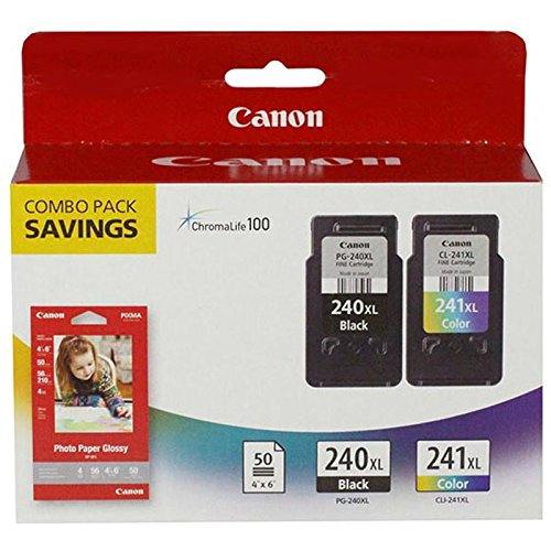 Canon 5206B005 (PG-240XL/CL-241XL) High Yield Black and Color Ink Cartridge Combo Pack (300 Yield) - Printer Canon Pixma Mx452