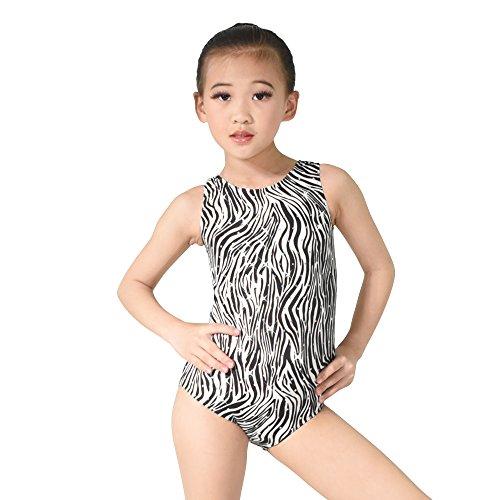MiDee Dancewear Leotard Basement Zebra Print Scoop-Neck Tank with Hologram Sequins (XSC, - Zebra Print Sequin