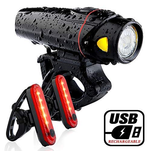 Bike Headlight and 2 LED Rear Bike Tail Lights Set, USB Rech