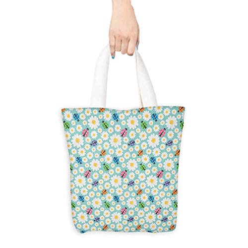 5861dcb0822e Simple Casual Handbag Ladybugs Colorful Daisies and Ladybirds Image Good  Luck Charm Discover Your True Self Concept Canvas Zipper 16.5