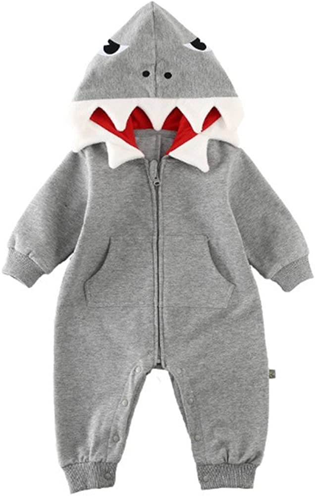 Fairy Baby Toddler Baby Shark Onesie Boys Girls 3D Shark Costumes Baby Romper Playsuit Hooded Jumpsuit Cotton Cartoon Outwear