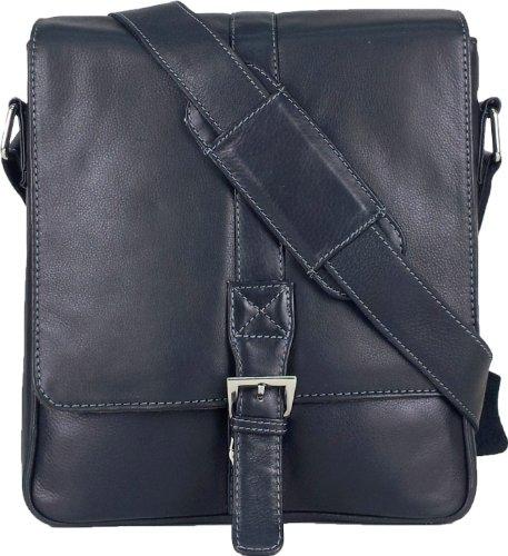 UNICORN Vera Pelle ipad, Ebook o Tablets Borsa Nero Messenger Bag #4J