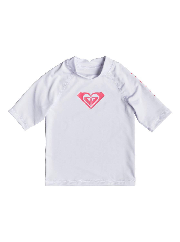 Roxy Girls Whole Hearted - Short Sleeve UPF 50 Rash Guard - Girls 2-6 - 3 - White Bright White 3