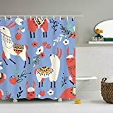 Mweet Decor Shower Curtain Llamas in A Blue Desert Polyester Fabric Bathroom Shower Curtain Set 65 × 71 inch