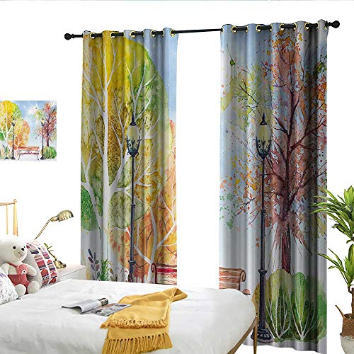 (Wen Zhouqw Landscape Hand Drawn Watercolor Autumn Park Trees Shrubs Bench and Lanterns Nature Artwork Multicolor Perforated Curtain)