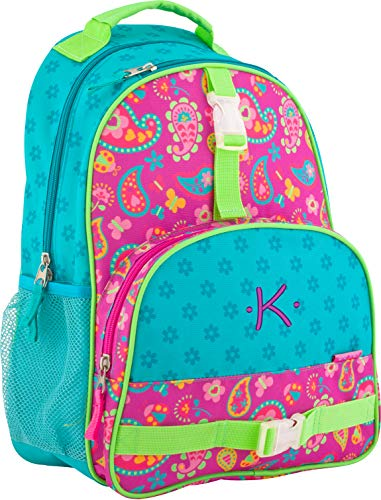 (Monogrammed Stephen Joseph Paisley All Over Print Backpack, with Purple Embroidered Initial K)