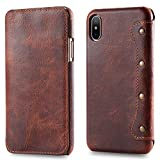 iphone X Case, LippBest [Genuine Leather] [Stand Feature] [Card Slots Vintage Series] Protective Flip Cover [Ultra Slim] Premium iphone X Leather Case for iphone 10 with Wallet (Brown)