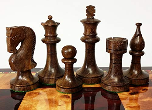 Double Queens Sheesham Staunton Wood Russian Knight Chess Men Set - NO Board