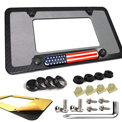 Aootf Carbon Fiber License Plate Frame- 3D Domed Decal Aluminum License Plate Holder with Stainless Steel Plate Screws, Caps and License Plate Rattle-Proof Pad (3D Red White American Flag Decal)