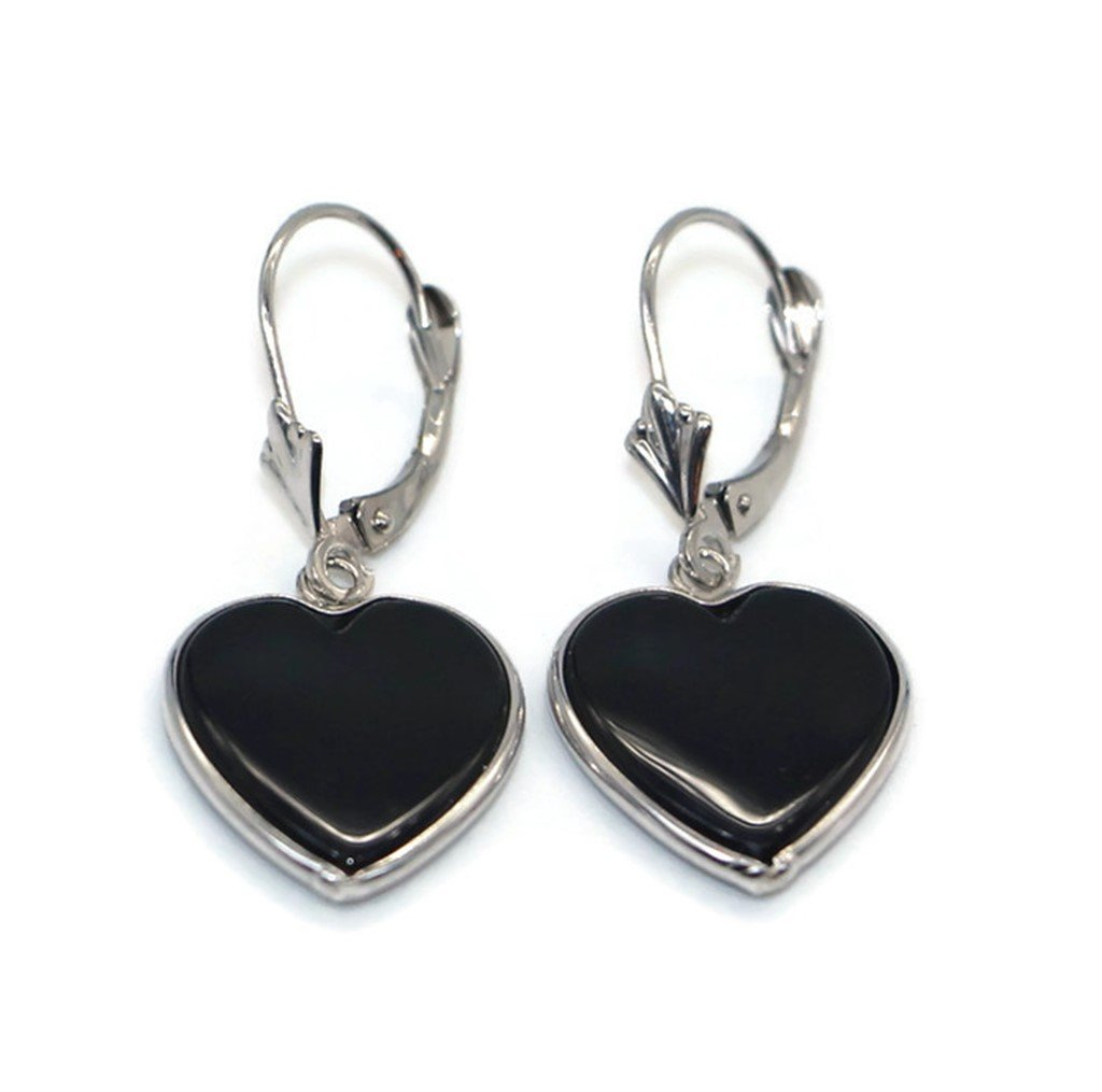 Onyx Black Heart Earrings set in 14K White Gold,Leverbacks by Sophia Fine Jewelry (Image #1)