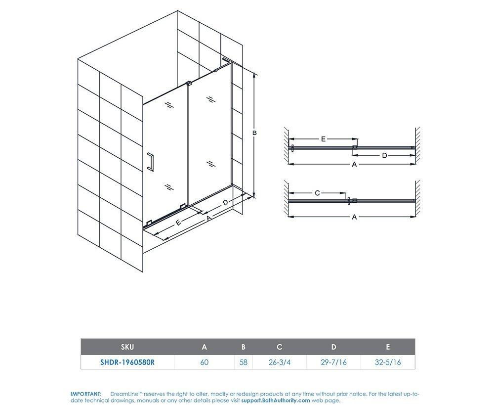 DreamLine Mirage-X 56-60 in. Width, Frameless Sliding Tub Door, 3/8'' Glass, Chrome Finish by DreamLine (Image #8)