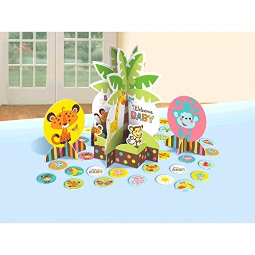 Cute Animal Fisher-Price Baby ( Welcome Baby ) Neutral, Unisex, Boy or Girl Baby Shower Party Table Decoration Kit Party Supply 27 PCS - Baby Shower and Party Supplies -