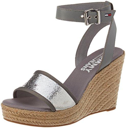 Women''s 000 silver Sandal Metallic Wedge Silver Espadrilles Tommy Jeans wqzf85xF