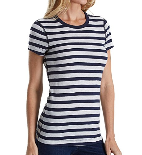Three Dots Women's Stripe Short Sleeve Crewneck, Coastal Stripe, L