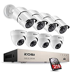 ZOSI FULL 1080p HD 8-Channel Video Security System DVR with 8pcs Indoor/Outdoor 2.0MP 1080p Bullet/Dome Cameras with Weatherproof Housing 100ft(30m) IR night vision 2TB Hard Drive by Zosi Technology Co., LTD