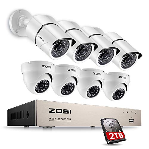 Set Surveillance Camera (ZOSI Full HD 1080p Security Camera System, 8X 1080p HD Weatherproof Outdoor Surveillance Camera, 8CH 1080P CCTV DVR Recorder and 2TB Hard Drive, 100ft Night Vision, Customizable Motion Detection)