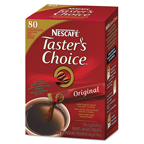 Nescafé Premium Instant-Coffee Single-Serve Sticks, Original Blend, .06oz, 80/Box